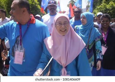 PANDAN, MALAYSIA - APRIL 28, 2018: Parti Keadilan Rakyat's president, Dr Wan Azizah Wan Ismail contest the Pandan parliamentary seat for upcoming General Election 14.