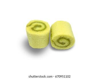 Pandan mini cake roll isolated on white background