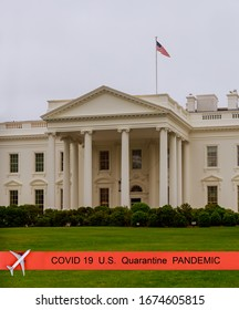 Pandemic canceled travel US quarantine covid-19 The White House from the norh lawn in Washington DC US flag