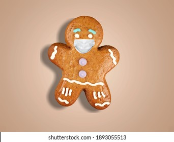 Pandemic Christmas. Quarantine celebration. Brown gingerbread man in protective face mask