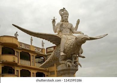 Pandharpur district solapur state maharashtra india August 3 2009 Statue of a vishnu citing on bird egal (garuda) at temple of saint tanpuray maharaj
