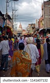 Pandharpur district solapur state maharashtra india August 3 2009 Pilgrim on the road to visit vitthal mandir temple