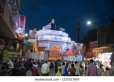 Pandharpur / India 16 July 2018 A view of the Vitthal Rukmini Temple at night  in Pandharpur Maharashtra India