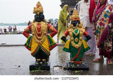 Pandharpur / India 16 July 2018 The Idol of Lord Vithal and Goddess Rukhmini near the ChandraBhaga River at  Pandharpur Maharashtra India
