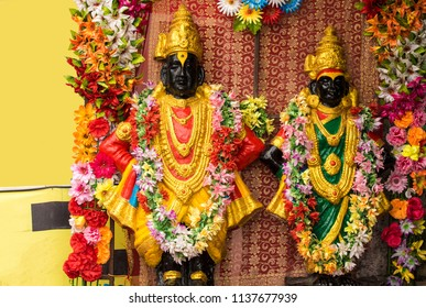 Pandharpur / India 16 July 2018 Idol of Lord Vitthal and goddess Rukhmai at Pandharpur Maharashtra India