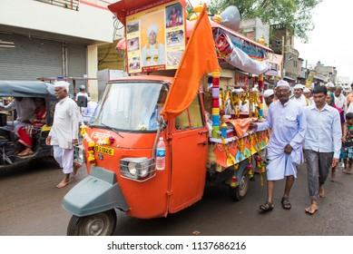 Pandharpur / India 16 July 2018 Wari procession on the occasion of Ashadhi Ekadashi at Pandharpur Maharashtra India