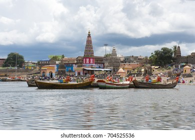 Pandharpur / India 25 August 2017 The Pundalik Temple next to the ChandraBhaga River at Pandharpur in Solapur district  Maharashtra  India