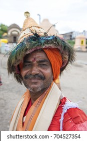 Pandharpur / India 25 August 2017  Potrait  of Vasudev pilgrims who are devotees of Lord Vishnu at Pandharpur in Solapur district  Maharashtra  India