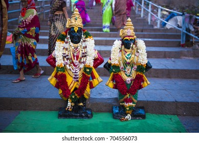 Pandharpur / India 25 August 2017  Idol of Lord Vitthal and goddess Rukhmai at Pandharpur Maharashtra  India