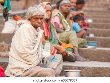 PANDHARPUR INDIA - March 26, 2015: Beggars at Vitthal Rakhumai Temple, Pandharpur, Solapur District, Maharashtra, India, Southeast, Asia.