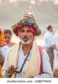 PANDHARPUR INDIA - March 26, 2015: Devotee with peacock feather cap called VASUDEV at Pandharpur, Solapur District, Maharashtra, India, Southeast, Asia.