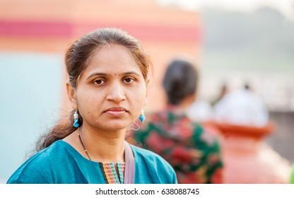 PANDHARPUR INDIA - March 26, 2015: Indian Lady closeup at Pandharpur, Solapur District, Maharashtra, India, Southeast, Asia.