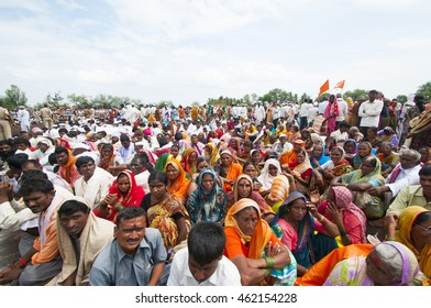 PANDHARPUR, MAHARASHTRA, INDIA - 9 JULY 2014 : Procession of Varkari-Hindu men and women Pilgrims, Varkari perform various sport on road of Pandharpur.The Varkari worship Vithoba an Avatar of Vishnu.