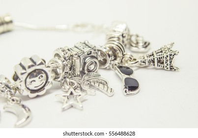 Pandora bracelet charms travel. Selective focus.