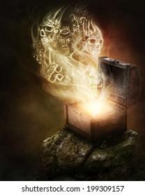 Pandoras box and scull smoke