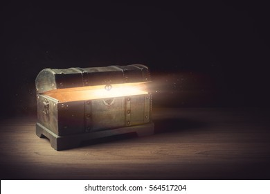 Pandora's box with smoke on a wooden background