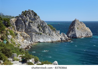 Panea and Diva rocks in the town Simeiz in Crimea, Ukraine