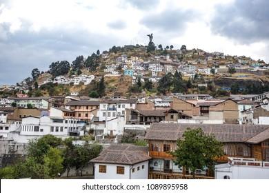 The Panecillo, a 200m hill overlooking the historical centre of Quito, Ecuador
