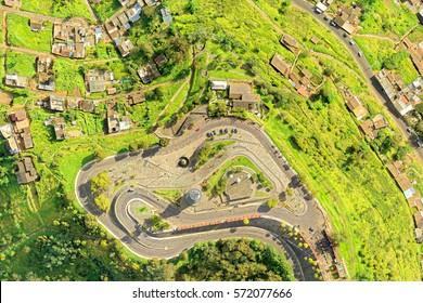Panecillo Hill And Park Quito Ecuador Drone Aerial Shot