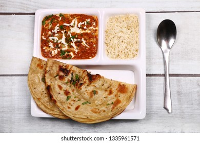 Paneer Butter masala Combo. Which is north indian food included Paneer (cheese) butter masala , Rice and Indian bread.