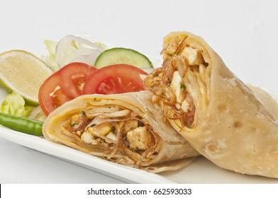 paneer kathi rolls with fresh salad