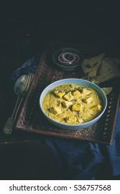 Paneer Peshawari Paneer Curry served with Nan Bread, Rice and salad.