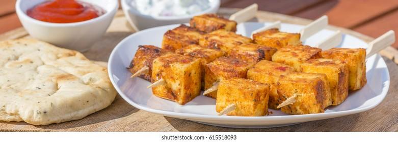 Paneer Tikka Kebab - Tandoori Indian cheese skewers.