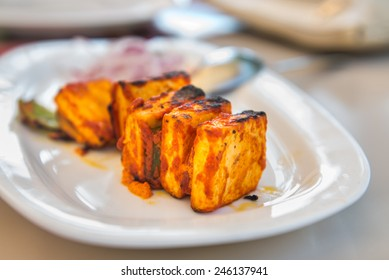 Paneer tikka - a popular indian dish with grilled cottage cheese.