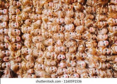 panel of lots of barbie blondes heads Russia, Saint-Petersburg -12 June 2018