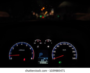 panel speedometer in car