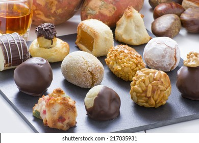 Panellets, chestnut, sweet potatoes and moscatell, are traditional desserts of All Saints holiday. known as Castanyada in Catalonia, Spain