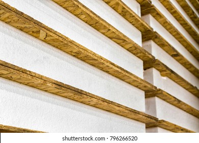 The panels for the construction of houses stacked close-up.