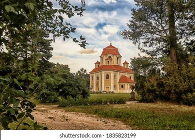Panenske Brezany, Czech Republic - July 26, 2020: Chapel of Saint Anna in Panenske Brezany