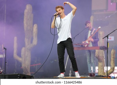 PANENSKY TYNEC, CZECH REPUBLIC - JUNE 28, 2018: Singer Dave Bayley of Glass Animals during performance at Aerodrome festival in Panensky Tynec, Czech Republic, June 28, 2018.