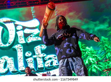 PANENSKY TYNEC, CZECH REPUBLIC - JUNE 28, 2018: American rapper Wiz Khalifa during his performance at Aerodrome festival in Panensky Tynec, Czech Republic, June 28, 2018.