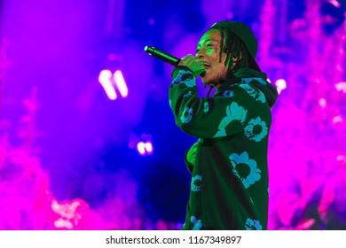 PANENSKY TYNEC, CZECH REPUBLIC - JUNE 28, 2018: American rapper Wiz Khalifa during his performance at Aerodrome festival in Panensky Tynec, Czech Republic, June 28, 2018.