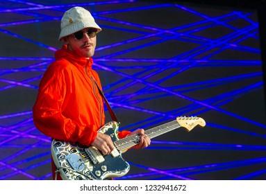 PANENSKY TYNEC, CZECH REPUBLIC - JUNE 29, 2018: Singer John Gourley of Portugal The Man during performance at Aerodrome festival in Panensky Tynec, Czech Republic, June 29, 2018.