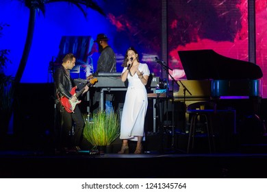 PANENSKY TYNEC, CZECH REPUBLIC - JUNE 29, 2018: Famous American singer Lana Del Rey (right) during her performance at Aerodrome festival in Panensky Tynec, Czech Republic, June 29, 2018.