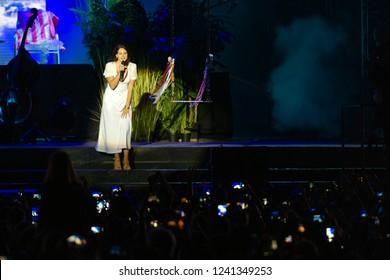 PANENSKY TYNEC, CZECH REPUBLIC - JUNE 29, 2018: Famous American singer Lana Del Rey during her performance at Aerodrome festival in Panensky Tynec, Czech Republic, June 29, 2018.