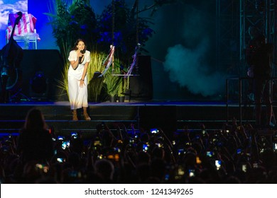 PANENSKY TYNEC, CZECH REPUBLIC - JUNE 29, 2018: Famous American singer Lana Del Rey during her performance at Aerodrome festival in Panensky Tynec, Czech Republic, June 29, 2018.