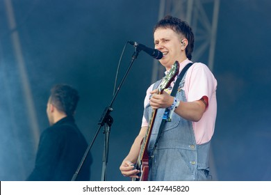 PANENSKY TYNEC, CZECH REPUBLIC - JUNE 30, 2018: Singer Conor Mason of Nothing But Thieves during performance at Aerodrome festival in Panensky Tynec, Czech Republic, June 30, 2018.