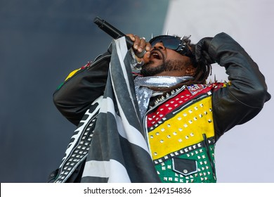 PANENSKY TYNEC, CZECH REPUBLIC - JUNE 30, 2018: Singer Benji Webbe of Skindred during performance at Aerodrome festival in Panensky Tynec, Czech republic, June 30, 2018.