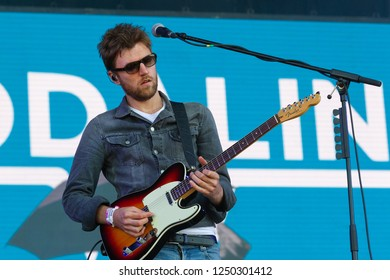 PANENSKY TYNEC, CZECH REPUBLIC - JUNE 30, 2018: Guitarist Mark Prendergast of Kodaline during performance at Aerodrome festival in Panensky Tynec, Czech Republic, June 30, 2018.