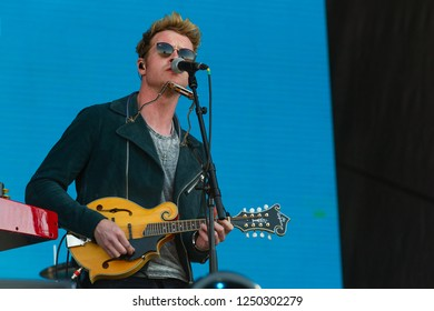 PANENSKY TYNEC, CZECH REPUBLIC - JUNE 30, 2018: Singer Steve Garrigan of Kodaline during performance at Aerodrome festival in Panensky Tynec, Czech Republic, June 30, 2018.