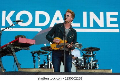 PANENSKY TYNEC, CZECH REPUBLIC - JUNE 30, 2018: Singer Steve Garrigan of Kodaline during performance at Aerodrome festival in Panensky Tynec, Czech Republic, June 30, 2018.