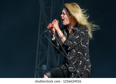 PANENSKY TYNEC, CZECH REPUBLIC - JUNE 30, 2018: Singer Alison Mosshart of The Kills during performance at Aerodrome festival in Panensky Tynec, Czech Republic, June 30, 2018.