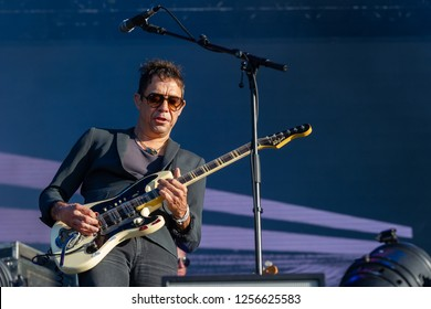 PANENSKY TYNEC, CZECH REPUBLIC - JUNE 30, 2018: Guitarist Jamie Hince of The Kills during performance at Aerodrome festival in Panensky Tynec, Czech Republic, June 30, 2018.