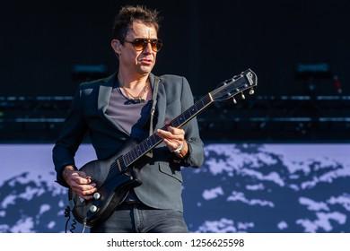 PANENSKY TYNEC, CZECH REPUBLIC - JUNE 30, 2018: Guitarist Jamie Hince of The Kills during performance at Aerodrome festival in Panensky Tynec, Czech Republic, June 30, 2018.