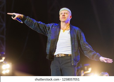 PANENSKY TYNEC, CZECH REPUBLIC - JUNE 30, 2018: American rapper Macklemore during his performance at Aerodrome festival in Panensky Tynec, Czech Republic, June 30, 2018.