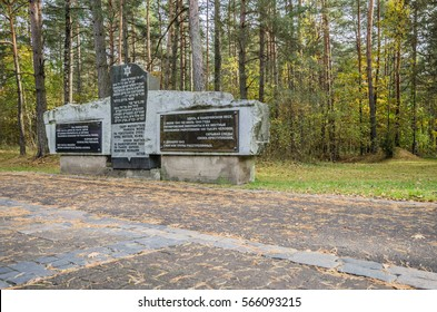 Paneriai (in Lithuanian)/Ponary (in Polish), Vilnius, Lithuania-October 9, 2014: Ponary massacre memorial to commemorate the mass murder of 70,000 Jews by the Nazis and Lithuanian collaborators